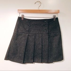 Benetton Pleated Schoolgirl Wool Mini Skirt